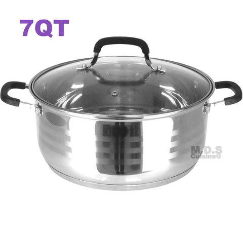 Dutch Oven Pot Stainless Steel 5 Layer Extra Impact Capsulated Bottom w/Lid Glass Olla Traditional Heavy Duty (7Qt)