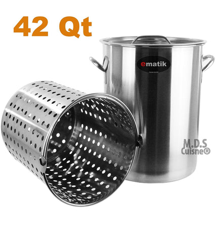 Pot Stainless Steel 42 Quart with Strainer Basket StockPot Commercial Fryer Pot