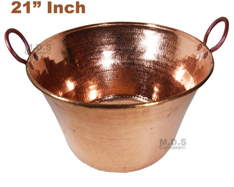 "Cazo de Cobre Puro 21"" Para Carnitas Hanging Classic Traditional Tacos Pure 100% Copper Mexico"