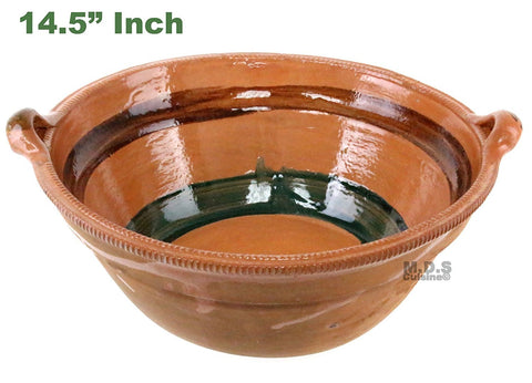 "Cazuela De Barro 14.5"" Lead Free Mexican Clay Traditional Decorative Artisan Artezenia"