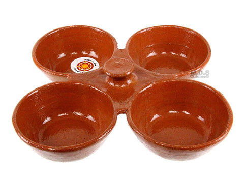 Salsero de Barro 4 in 1 Salsa Bowls Traditional Lead Free Clay Artisan Artezenia Molcajete Mexican Condiment Garnish Serving Bowls