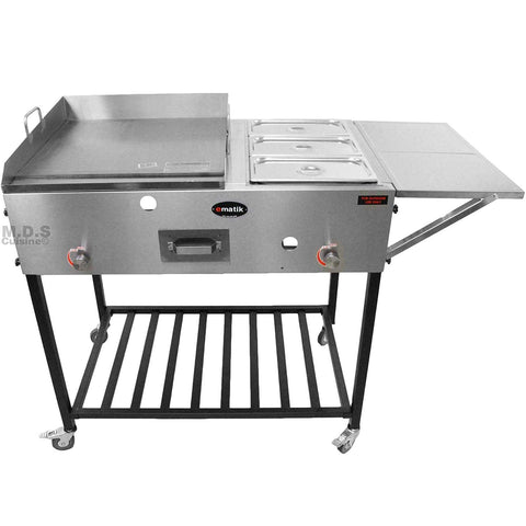 "Ematik Taco Cart Food Catering Stainless Steel 24"" Steel Griddle Plancha with 3 Steamers Tray Pans Plus Side Table and Bottom Storage Rack High Pressure Propane Gas Hose and Regulator"