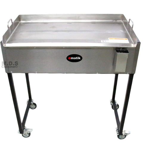 "Ematik Griddle 31"" 100% Heavy Duty Gauge Steel Stainless Steel Catering Grill Camping Tailgate Taco Cart Portable"