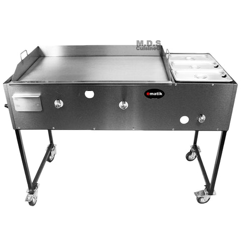 "Ematic Catering Cart 36"" Griddle 100% Pure Heavy Duty Gauge Steel Commercial Stainless Steel Taco Cart Grill with Steamer"