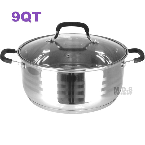 Dutch Oven Pot Stainless Steel 5 Layer Extra Impact Capsulated Bottom w/Lid Glass Olla Traditional Heavy Duty (9Qt)