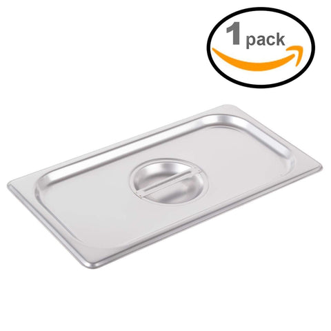"Steamer Tray Lid 3Qt 13"" 1/3 Stainless Steel Durable Heavy Duty Gauge Heating Steam Table Food Warmer Pans Lids (1 Steamer Tray)"