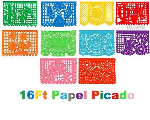 Papel Picado 16Ft Plastic Traditional Authentic Cultural Mexican Decorative Fiesta Party Flags Patterned Folk Art Festive Decorations