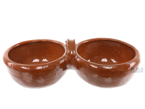 Salsero's De Barro Double Traditional Lead Free Mexican Clay Salsa Serving Bowls 2 in 1