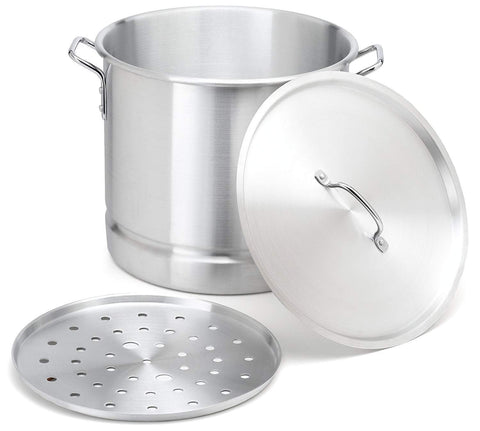 Stock-Pot 16 Qt Aluminum Steam-Pot with Steamer Rack Tamales Heavy Duty Commercial Kitchen Restaurant Olla
