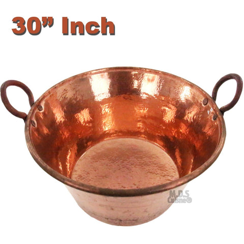 "Cazo de Cobre Puro 30"" Para Carnitas Classic Traditional Tacos Pure 100% Copper Mexico Heavy Duty Gauge"