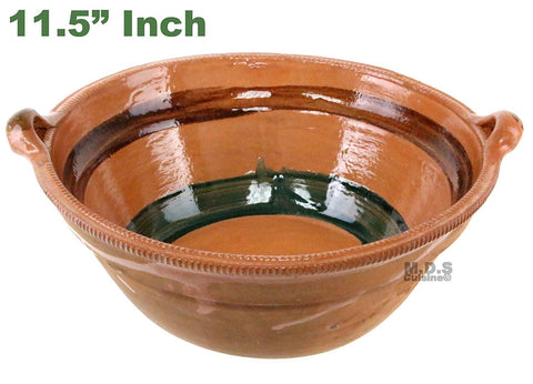 "Cazuela De Barro 11.5"" Lead Free Mexican Clay Traditional Casserole Decorative Artisan Artezenia"