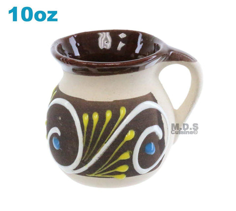 Taza Mug de Barro 10 Oz Colorful Festive Hand Painted Traditional Mexican Artisan Artezenia Ponchero Champurrado Hot Chocolate Tepache (Brown, Brown)