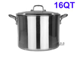 Stock Pot 16-Qt Heavy Duty 4mm Professional (1200) Aluminum Grade Extra-thick Reinforced Rim and Bottom Commercial Restaurant Pot