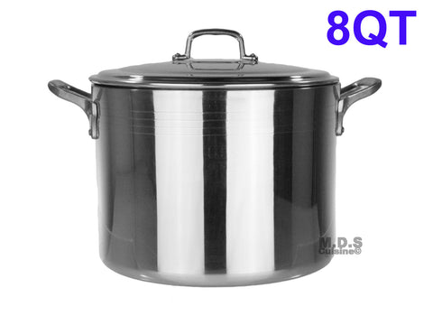 Stock Pot 8- Qt Heavy Duty 4mm Professional (1200) Aluminum Grade Extra-thick Reinforced Rim and Bottom Commercial Restaurant Pot