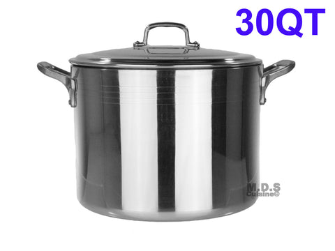 Stock Pot 30-Qt Heavy Duty 4mm Professional (1200) Aluminum Grade Extra-thick Reinforced Rim and Bottom Commercial Restaurant Pot