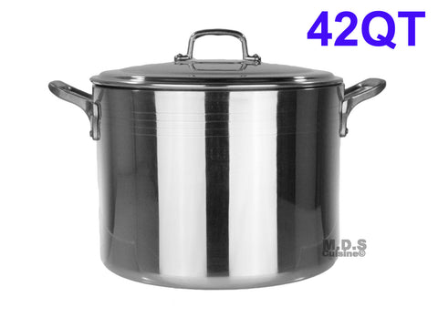 Stock Pot 42-Qt Heavy Duty 4mm Professional (1200) Aluminum Grade Extra-thick Reinforced Rim and Bottom Commercial Restaurant Pot
