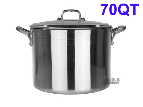 Stock Pot 70-Qt Heavy Duty 4mm Professional (1200) Aluminum Grade Extra-thick Reinforced Rim and Bottom Commercial Restaurant Pot