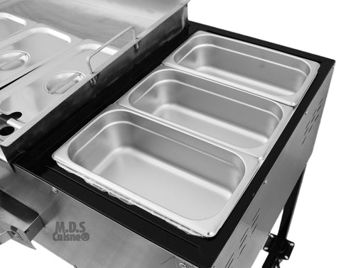 Taco Cart 24 Quot Steel Griddle Plancha W 3 Steamers Catering