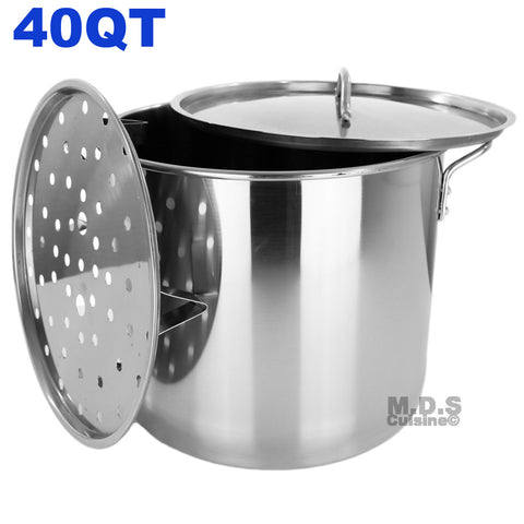 Stock Pot Stainless Steel 40 QT Lid Steamer Big Vaporera Kettle Tamales New 10G