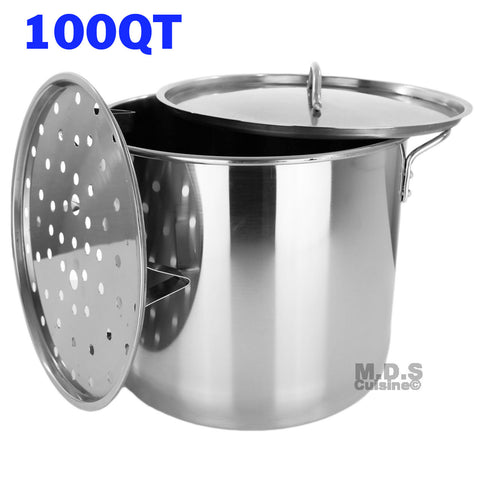 Stock Pot Stainless Steel 100 QT Steamer Brew Vaporera Tamalera for Tamales(25gallons)