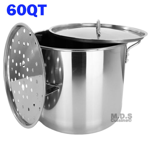 Stock Pot Stainless Steel 60 QT Steamer Brew Vaporera Tamalera for Tamales(15gallons)