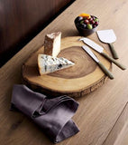 B. Smith Small Acacia Wood appetizer cheese crackers Log Slice Rustic Server