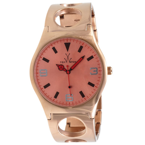 "Toywatch -  ""Only Time"" Gold Pvd Stainless Steel Case, Pink Gold Dial, Stainless Steel Cuff, Quartz Watch - Cu11pg  Case Size: 42mm Diameter"