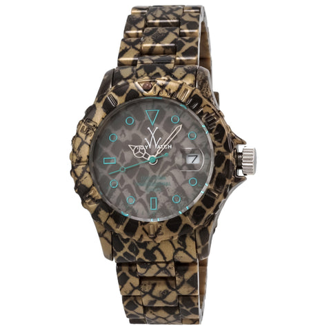 "Toywatch - ""Imprint Only Time ""Reptile"""" Snake Skin Print Plastic Case, Brown And Teal Dial, Snake Skin Print Plastic Bracelet Strap, Quartz Watch - Fle02re  Case Size: 39mm Diameter"
