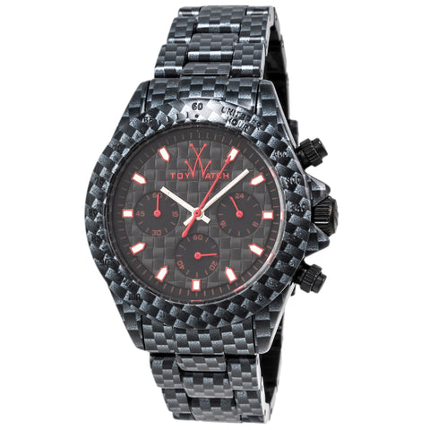 "Toywatch - ""Imprint"" Black Carbon Fiber Case, Red And Black Dial, Black Carbon Fiber Bracelet Strap, Unisex, Quartz, Chronograph Watch - Fle05ca  Case Size: 42mm Diameter"