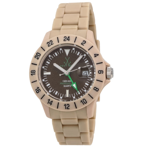 "Toywatch - ""Jet Lag Only Time"" Cream Plastic Case, Brown Dial, Cream Plastic Bracelet Strap, Quartz Watch - Jet06sy  Case Size: 41mm Diameter"