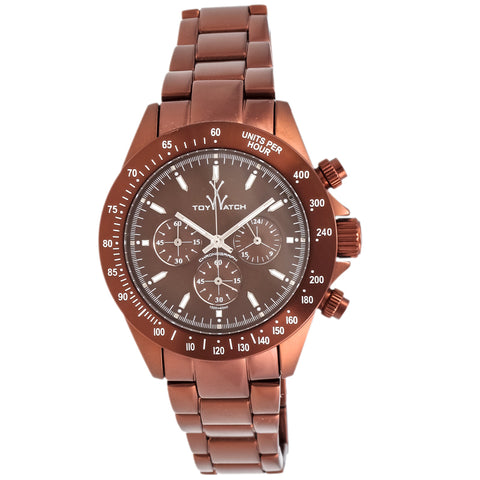 "Toywatch - ""Metallic Brown"" Bronze Pvd Coated Stainless Steel Case, Brown Dial, Bronze Pvd Coated Stainless Steel Strap, Quartz, Chronograph Watch - Me12br  Case Size: 42mm Diameter"