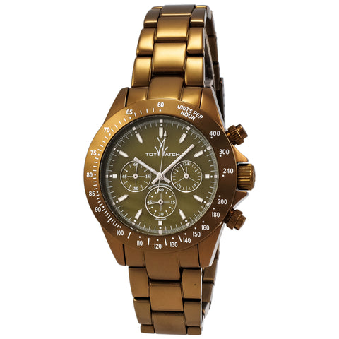 "Toywatch - ""Metallic Olive"" Bronze Pvd Coated Stainless Steel Case, Olive Dial, Bronze Pvd Coated Stainless Steel Strap, Quartz, Chronograph, Watch Chrono  Dial Watch - Me14ol  Case Size: 40mm Diameter"