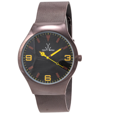 "Toywatch -  ""Only Time"" Bronze Pvd Stainless Steel Case, Black, Red And Yellow Dial, Bronze Pvd Stainless Steel Mesh Bracelet Strap, Quartz Watch - Mh03br  Case Size: 39mm Diameter"