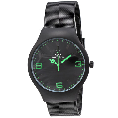 "Toywatch - ""Only Time"" Black Pvd Stainless Steel Case, Black, And Green Dial, Black Pvd Stainless Steel Mesh Bracelet Strap, Quartz Watch - Mh04bk  Case Size: 40mm Diameter"