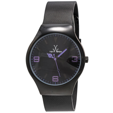 "Toywatch - ""Only Time"" Black Pvd Stainless Steel Case, Black, And Purple Dial, Black Pvd Stainless Steel Mesh Bracelet Strap, Quartz Watch - Mh05bk  Case Size: 40mm Diameter"