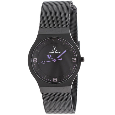 "Toywatch - ""Only Time"" Black Pvd Stainless Steel Case, Black, And Purple Dial, Black Pvd Stainless Steel Mesh Bracelet Strap, Quartz Watch - Mh09bk  Case Size: 28mm Diameter"