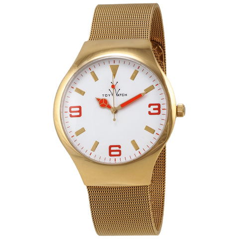 "Toywatch - ""Only Time"" Gold Pvd Stainless Steel Case, White, Gold, And Orange Dial, Gold Pvd Stainless Steel Mesh Bracelet Strap, Quartz Watch - Mh11gd  Case Size: 40mm Diameter"