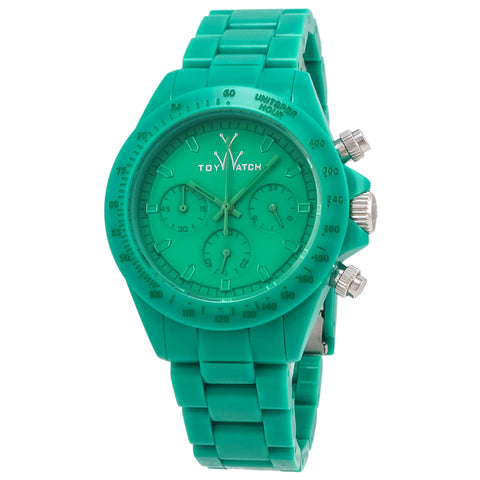 "Toywatch - ""Monochrome"" Green Plastic Case, Green Dial, Green Plastic Bracelet Strap, Quartz, Chronograph Watch - Mo11gr  Case Size: 41mm Diameter"