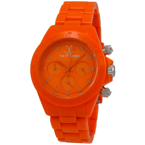 "Toywatch - ""Monochrome"" Orange Plastic Case, Orange Dial, Orange Plastic Bracelet Strap, Quartz, Chronograph Watch - Mo12or  Case Size: 41mm Diameter"