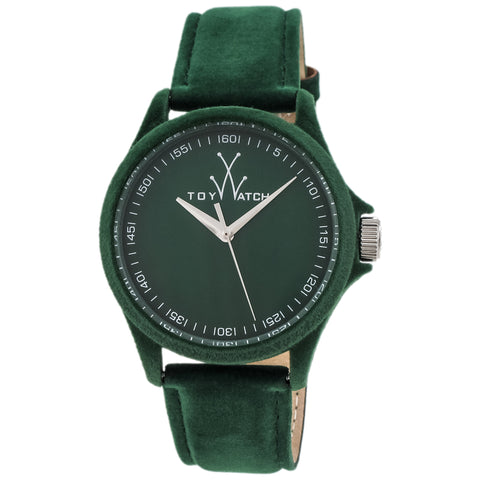"Toywatch - ""Sartorial Only Time"" Green Stainless Steel Case, Green Dial, Green Velvet, Calfskin Leather Strap, Quartz Watch - Pe04gr  Case Size: 41mm Diameter"