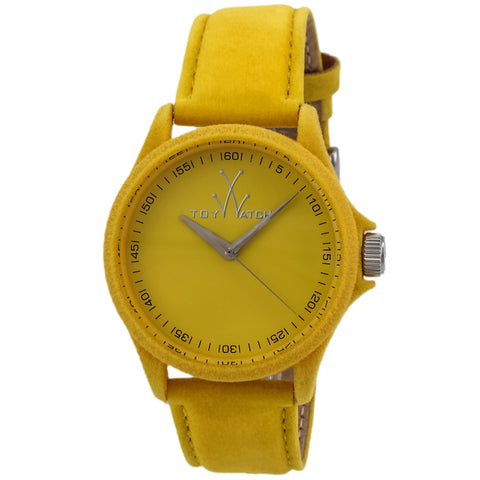 "Toywatch - ""Sartorial Only Time"" Yellow Stainless Steel Case, Yellow Dial, Yellow Velvet, Calfskin Leather Strap, Quartz Watch - Pe07yl  Case Size: 41mm Diameter"