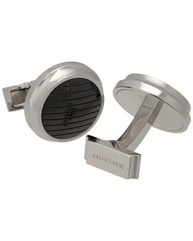 "Davidoff - ""Velero"" Material 316l Polished Steel And Black Pvd Coating, Cufflinks - 20923"