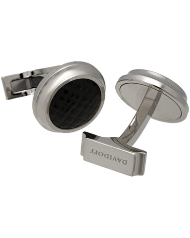 "Davidoff - ""Velero"" Material 316l Polished Steel,  With Black Calf Skin, Cufflinks - 20926"