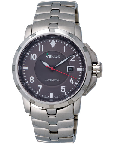 Venus Of Switzerland - Time-Date Gent, Stainless Steel Case, Grey Colour Dial, Arabic Numerals, Stainless Steel Bracelet, Automatic Watch - Ve-1302a1-27-B1  Case: 44 Mm Diameter