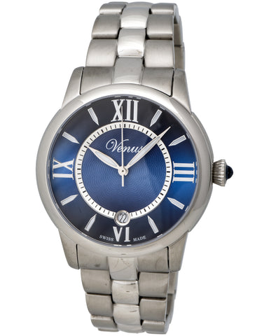"Venus Of Switzerland - ""Impetus Collection"" Time-Date Lady, Stainless Steel Case, Blue Dial, 4 Roman Numerals And Indexes, Stainless Steel Bracelet Strap, Quartz Movement - Ve-3116a1-4r8-B1   Case Size: 40mm Diameter"
