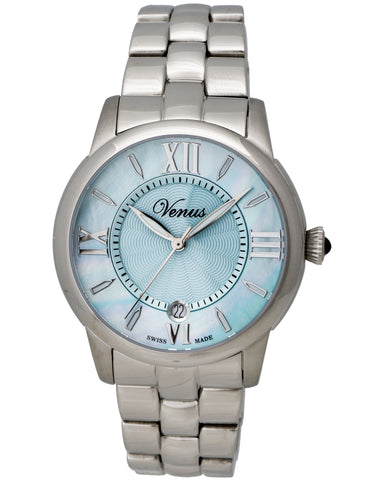 "Venus Of Switzerland - ""Impetus Collection"" Time-Date Lady, Stainless Steel Case, Light Blue Mother Of Pearl Dial, 4 Roman Numerals And Indexes, Stainless Steel Bracelet Strap, Quartz Movement - Ve-3116a1-4r9-B1   Case Size: 40mm Diameter"