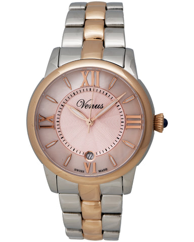 "Venus Of Switzerland - ""Impetus Collection"" Time-Date Lady, Two-Tone Pvd Stainless Steel Case, Pink Mother Of Pearl Dial, 4 Roman Numerals And Indexes, Stainless Steel Bracelet Strap, Quartz Movement - Ve-3116a8-4r6-B8   Case Size: 40mm Diameter"