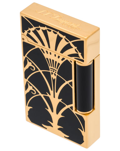 "S.t. Dupont - ""Art Nouveau"" Ligne 2 Lacquer W/ Gold Finishes, American Art Deco (Chrysler Building) Lighter - 016063"