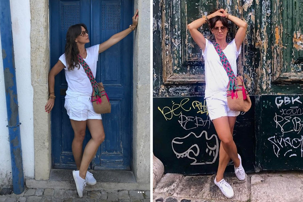 Kinga Rusin wearing wayuu bag Kinga Rusin z torbą Wayuu