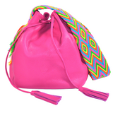 wayuu bag leather bucket bag mochila boho style fuchsia  PINK PITAHYA